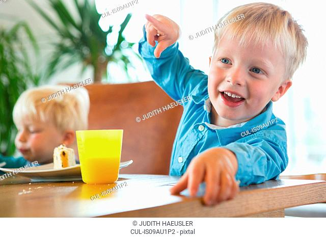 Boy and toddler brother at tea table