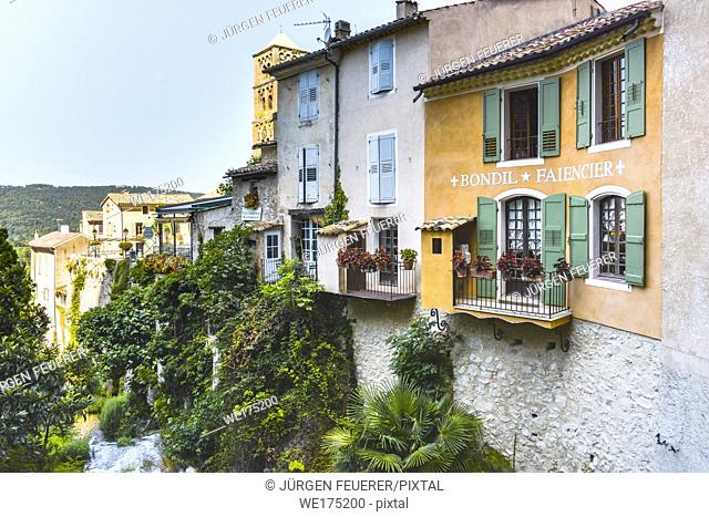 village Moustiers-Sainte-Marie, Provence, France, member of most beautiful villages of France