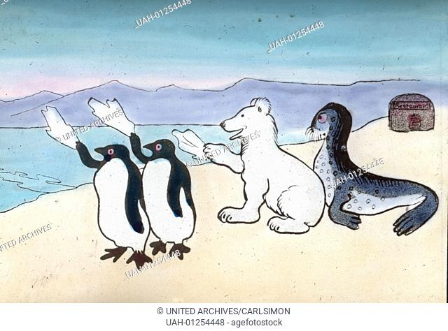 Goodbye saying penguin, polar bear and seal. Comic, image date circa 1910. Carl Simon Archive