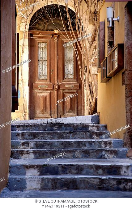 Old Venetian Doors and Alleyway, Chania, Crete, Greece