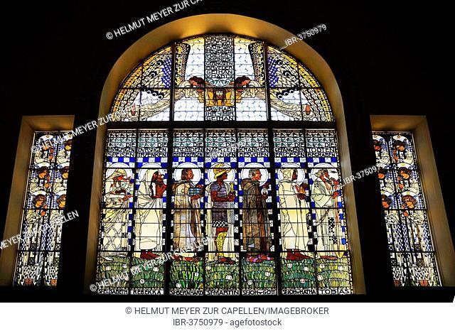 Stained glass windows by the artist Koloman Moser of the Church of St. Leopold at Steinhof, 1904-1907, Vienna, Vienna State, Austria