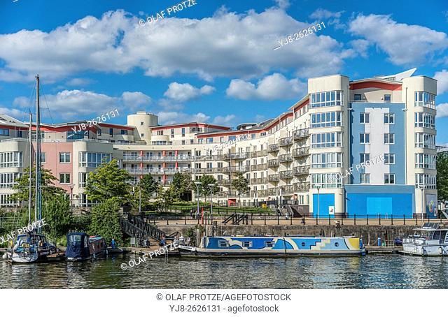 Modern riverside Architecture along the Floating Harbour of Bristol, Somerset, England, UK