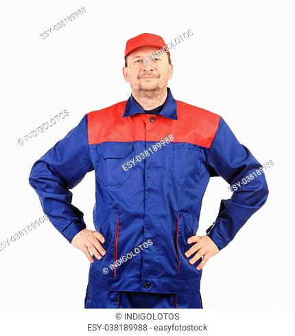 Worker inred-blue workwear. Isolated on a white background