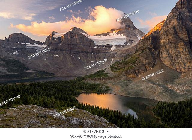 The classic sunrise view of Mount Assiniboine from the 'Nublet'
