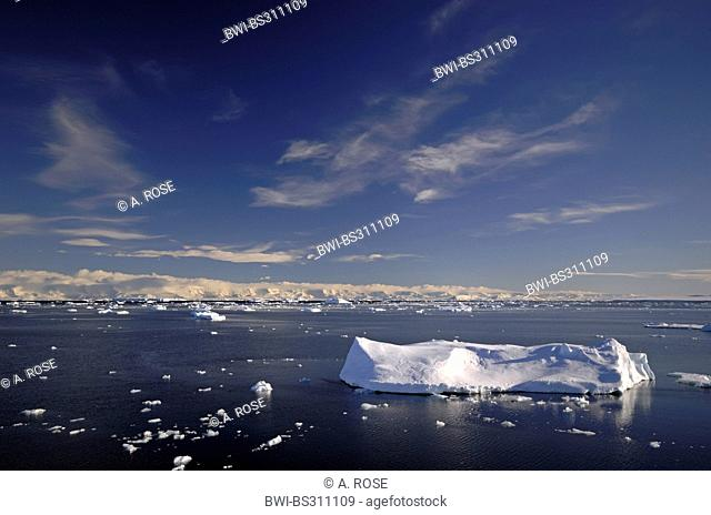 icebergs on the Weddell Sea in the 'Larsen A' area with the peninsula coast in the background, Antarctica