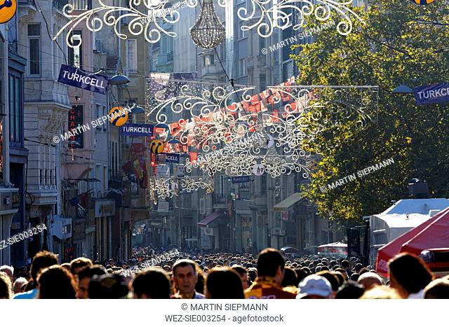 Turkey, Istanbul, View of lighting at Istiklal Caddesi road