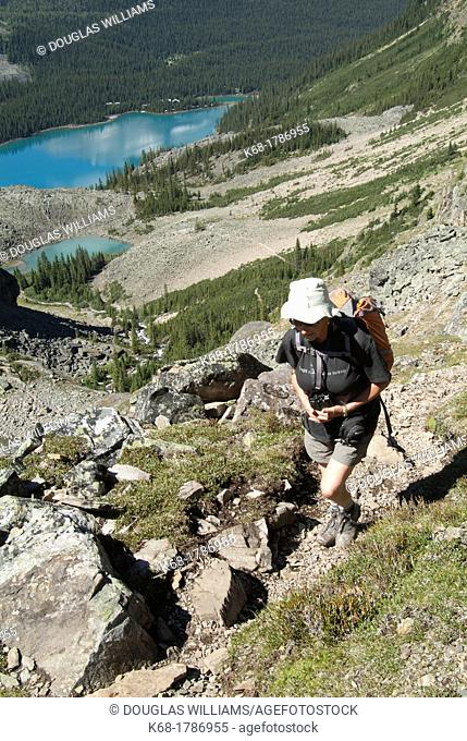 A middle-aged woman hikes in Yoho National Park, above Lake O'Hara, British Columbia, Canada