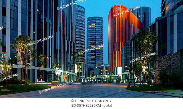 Modern skyscrapers on city street