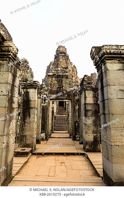Four-faced towers in Prasat Bayon, Angkor Thom, Angkor, Siem Reap Province, Cambodia, Khmer