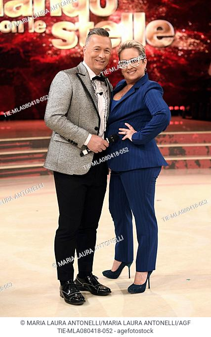 Carolyn Smith and Paolo Belli during the tv show Dancing with the stars, Rome, ITALY-07-04-2018