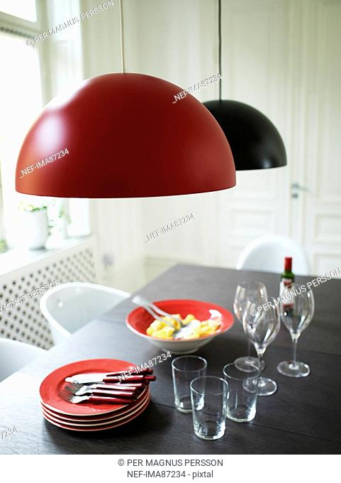 Modern design table with meal for three ready to eat