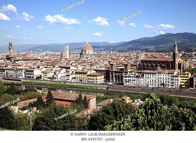 View from Piazzale Michelangelo, River Arno, Palazzo Vecchio, Cathedral of Santa Maria del Fiore and Franciscan Church Satna Croce, Florence, Tuscany, Italy