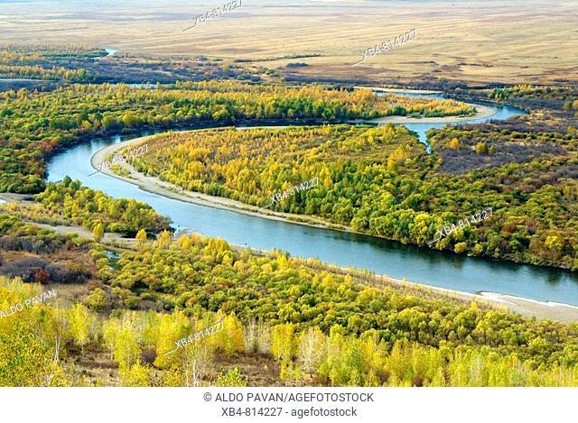 E'erguna town, view over Gen river, Inner Mongolia, China