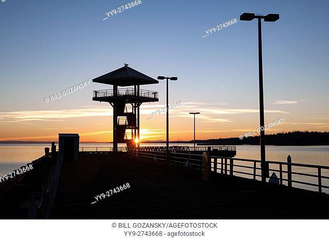 Sunrise at Port Angeles City Pier Observation Tower - Port Angeles, Washington, USA