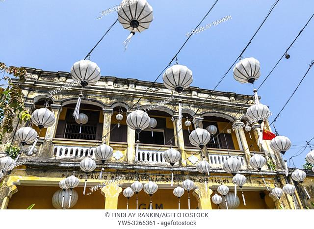 Lanterns used as street decoration outside an old French styled Vietnamese house, Hoi An, Quang Nam Provence, Vietnam, Asia