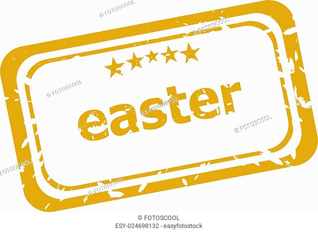 Easter grunge stamp isolated on white background