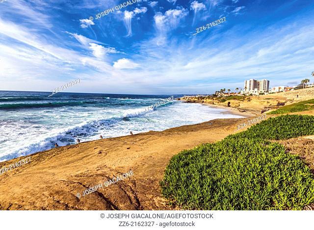 La Jolla coastline and Wipeout Beach. La Jolla, California, United States