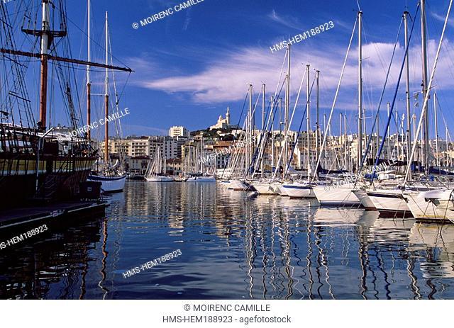 France, Bouches du Rhone, Marseille, Vieux Port Old Harbour