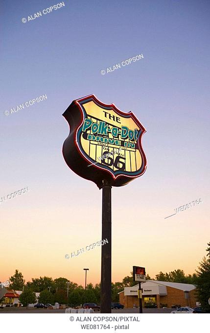USA Illinois Route 66 Braidwood Polk-a-Dot Drive-In sign