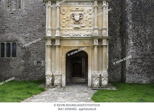 Ornate inner dooway at Beaupre manor, Cowbridge Wales UK