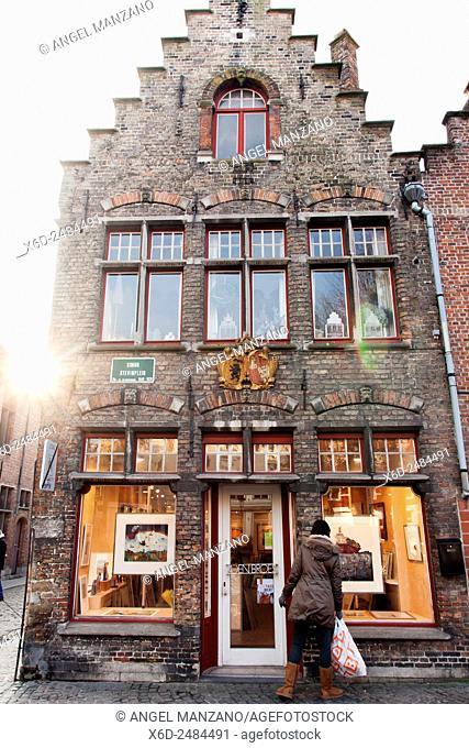 Typical street in Bruges, Belgium