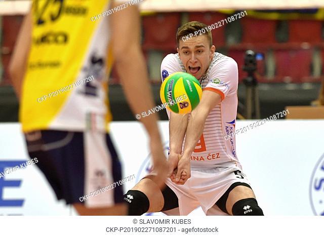 Lukas Vasina (Karlovarsko) in action during the 6th round group B of volleyball Champions League match Karlovarsko vs Modena in Karlovy Vary, Czech Republic