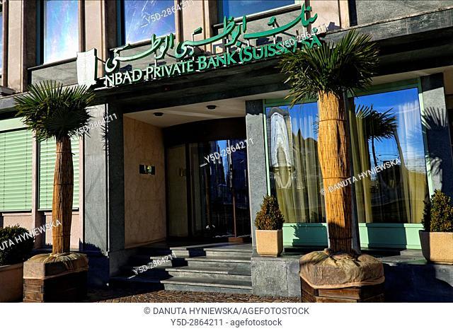 entrance to National Bank of Abu Dhabi (NBAD), Geneva, Switzerland