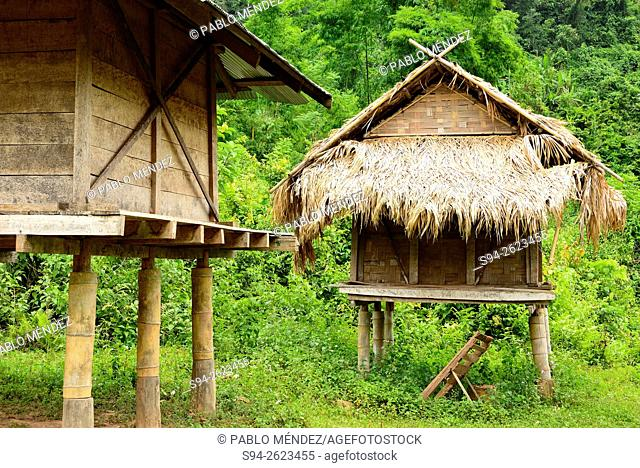 Typical house or cabin in Ban Chaleunsouk, Luang Namtha, Laos