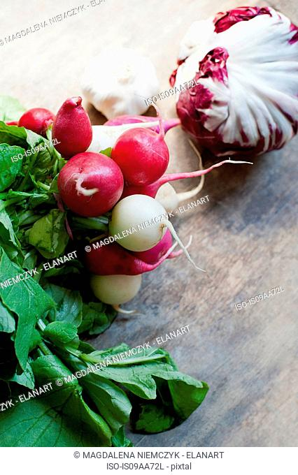 Radishes and red cabbage, close up