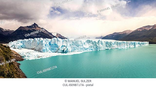Panoramic view of Lake Argentino, Perito Moreno Glacier and mountains in Los Glaciares National Park, Patagonia, Chile