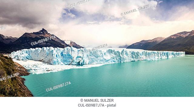 Panoramic view of Lake Argentino, Perito Moreno Glacier and mountains in Los Glaciares National Park, Patagonia, Chile