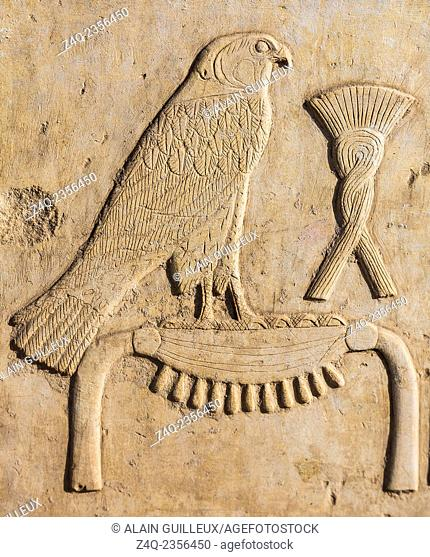 UNESCO World Heritage, Thebes in Egypt, Karnak temple, Open Air Museum, a relief depicting the names of a king. The hawk symbolizes the god Horus