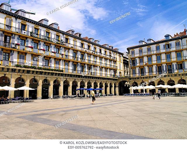 Square in Donostia - San Sebastian, Basque Country, Spain