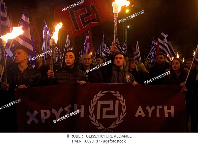 Supporters of the Greek neo-Nazi party Chrysi Avgi (Golden Dawn) during rally. 02.02.2019 | usage worldwide. - Athen/Greece