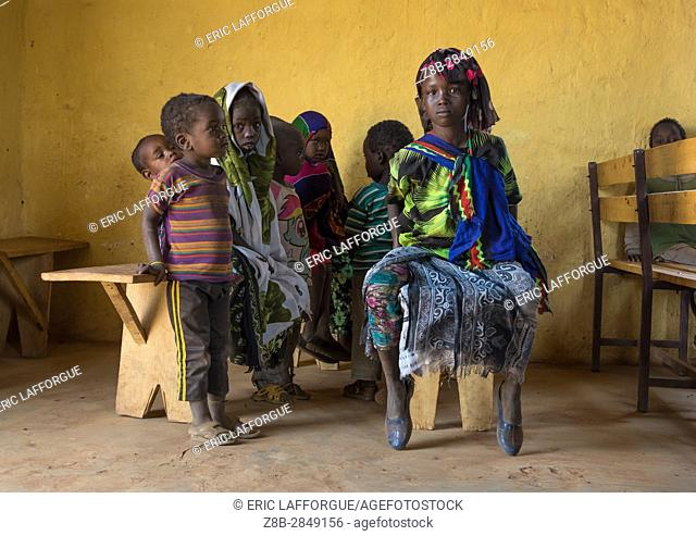 Borana children during sunday church service, Oromia, Yabelo, Ethiopia