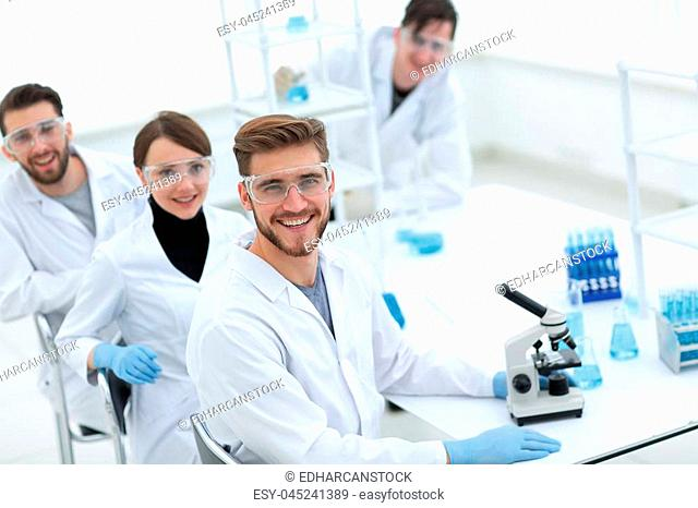 promising young scientists in the laboratory .photo with copy space