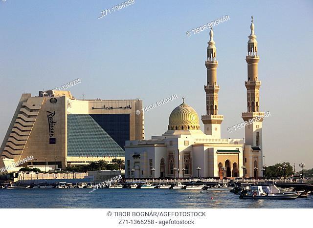 United Arab Emirates, Sharjah, Creek, Mosque, Radisson Hotel