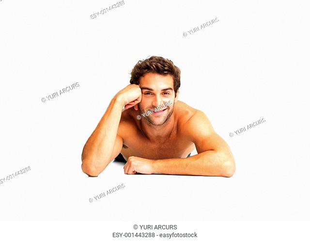 Sexy shirtless man lying down