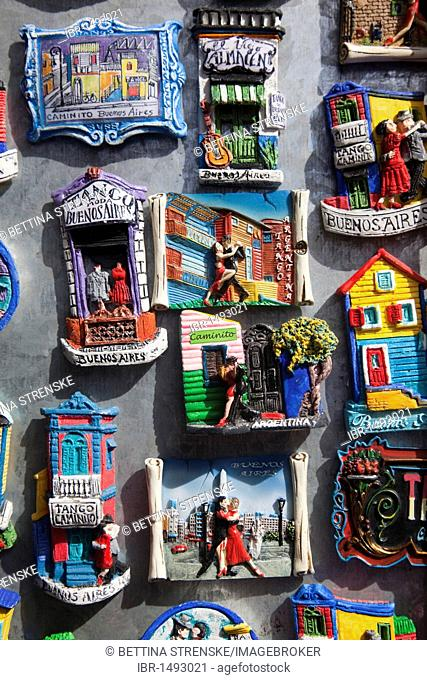 Fridge magnets depicting Tango and Buenoas Aires themes, Barrio La Boca, Buenos Aires, Argentina, South America
