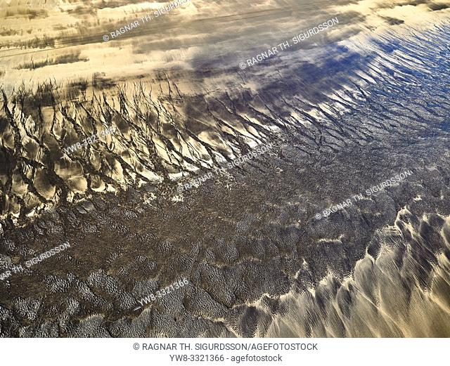 Patterns in the sand, Landeyjasandur, South Coast Iceland. This image is shot from a helicopter