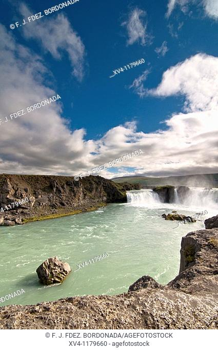 Godafoss or waterfall of the Gods, is on the river Skjalfandafjot  North Iceland