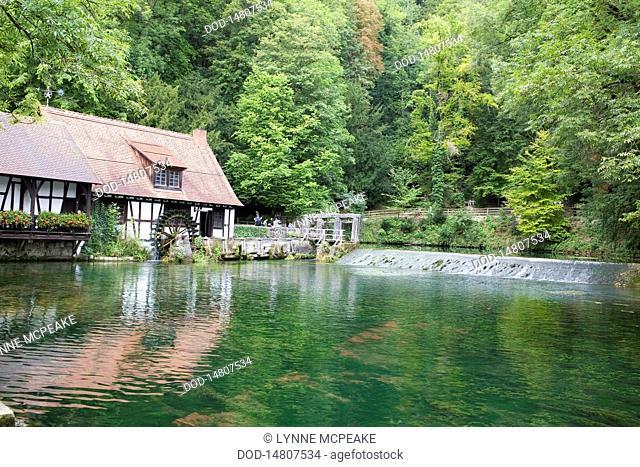 Germany, Bavaria, Blaubeuren, mill on river Blau