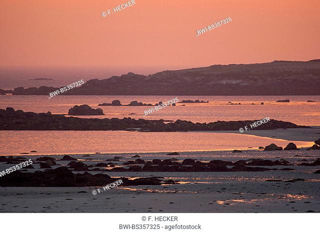 sunset glow at the sea, France, Brittany