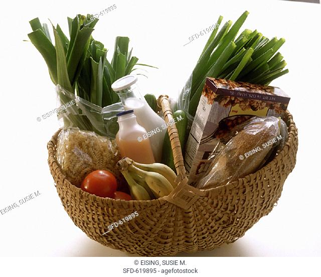 Assorted Groceries in a Basket