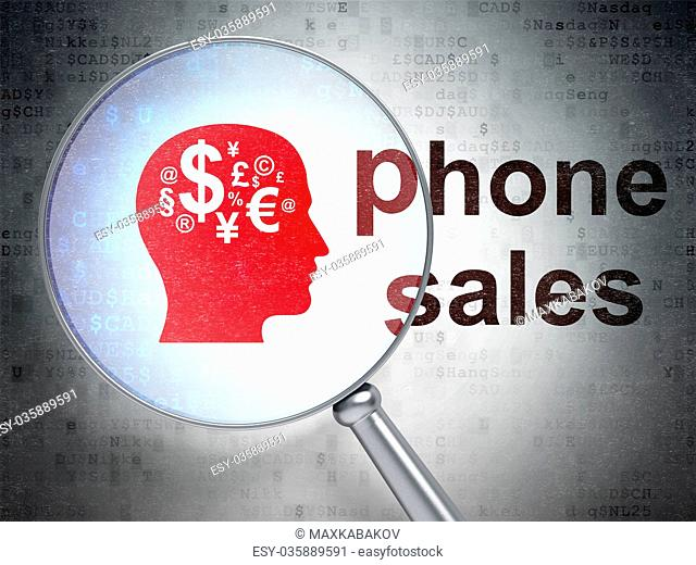 Marketing concept: Head With Finance Symbol and Phone Sales with optical glass