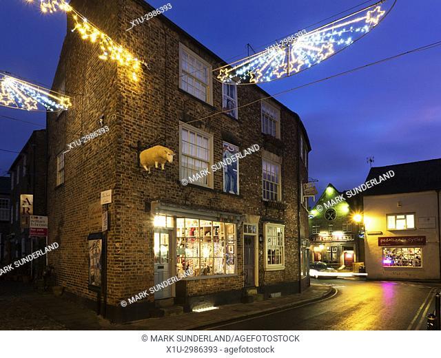 Christmas Lights along the Shopping Street of Castlegate in Knaresborough North Yorkshire England