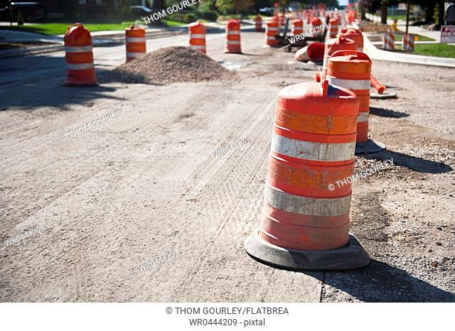 Orange Reflective Road Construction Barrels
