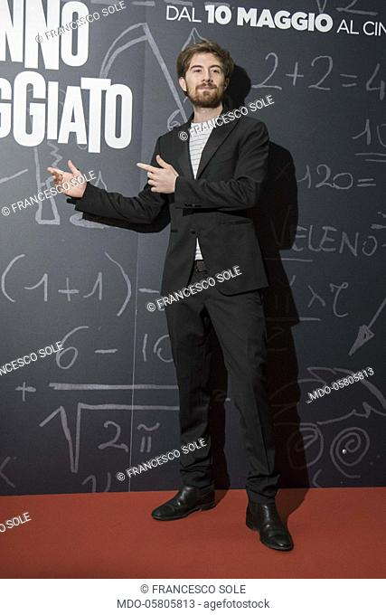 The italian blogger Francesco Sole at the photocall of the film Tonno Spiaggiato, directed by Matteo Martinez, with Frank Matano, at the Cinema Anteo