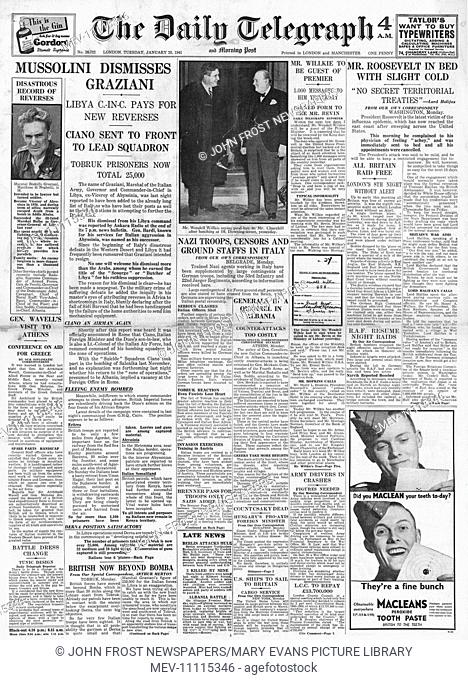 1941 front page Daily Telegraph Mussolini sacks Count Ciano and General Graziana
