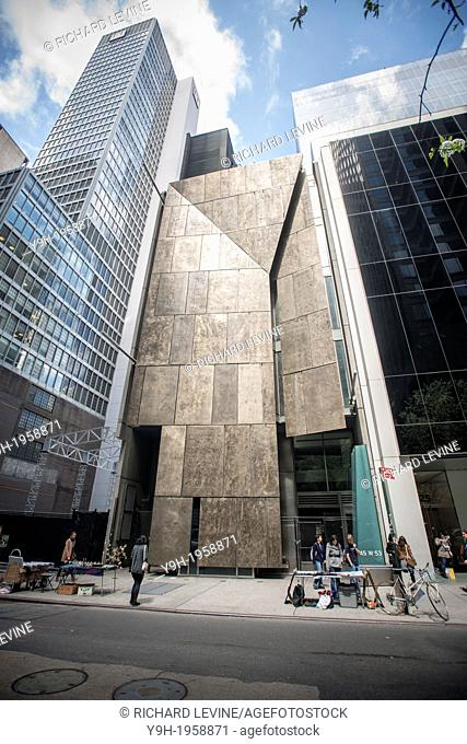 The former home of the American Folk Art Museum, now owned by MoMA on West 53rd Street in New York. The architecturally striking building